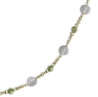 18KT Yellow Gold Crystal & Peridot Necklace   18 Inch Pendant Necklaces Jewelry