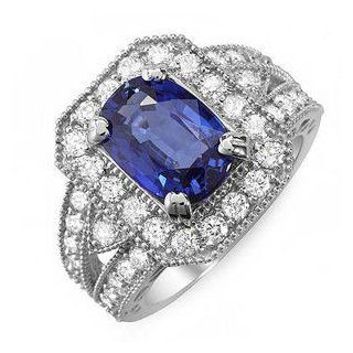 2.88 Ct Ceylon Blue Sapphire and Diamond Ring 14k Gold Passion Gems Jewelry