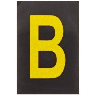 "Brady 5905 B Bradylite 1 1/2"" Height, 1 Width, B 997 Engineering Grade Bradylite Reflective Sheeting, Yellow On Black Reflective Letter, Legend ""B"" (Pack Of 25) Industrial Warning Signs"