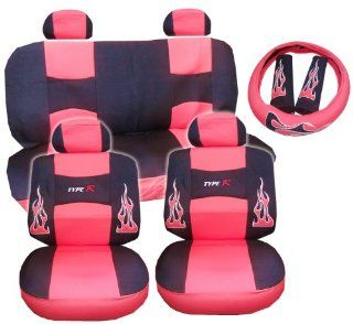 13pc Flames Peach RED and Black Type R Racing Low Back Seat Covers with Head Rest Covers, Bench Cover with Head Rest Covers and Steering Wheel Cover with Shoulder Pads Automotive