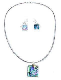 Dichroic art glass jewelry set, 'Groovy Ice Cubes' Jewelry