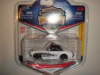 2011 Jada Wave 3 Badge City Heat '57 Chevy Corvette Police White/Black #034 Toys & Games
