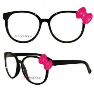 Black & Pink Bow Hello Kitty Glasses Nerd Clear Lens Shatter Resistant 9298KC Clothing