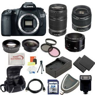 Canon EOS 60D DSLR Camera with 3 Canon Lens Pro Pack Includes   Canon EF S 18 55mm f3.5 5.6 IS   Canon EF S 55 250mm f/4 5.6 IS Autofocus Lens   Canon EF 50mm f1.8 II Autofocus Lens, Also Includes Deluxe Carrying Case, 2 Extra Batteries & Travel Charg