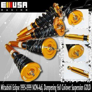 1995 1999 Mitsubishi Eclipse 2nd Gen, Eagle Talon Full Coilover Suspension Non adj. Dampening Gold Adjustable Ride Height Automotive