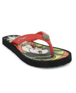 Ed Hardy Flip Flop Sandals Shoes Geisha Skull Logo Size 5 Shoes