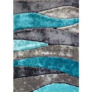 Turquoise gray Modern Hand Carved Shag Area Rug approximately 1 inch thick Hand Tufted size 5' x 7'   Gray And Turquoise Rug