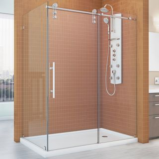 Dreamline SHEN623460008 Shower Enclosure, 34 1/2 by 60 3/8 EnigmaZ Fully Frameless Sliding, Clear 3/8 Glass Polished Stainless Steel