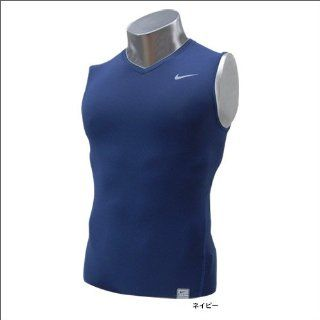 Nike Men's Core Compression Sleeve Less V neck Shirt (Navy/X Large) Sports & Outdoors