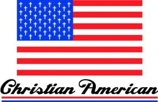 "4"" Printed color USA Patriot American Flag Christian American religious sticker decal for any smooth surface such as windows bumpers laptops or any smooth surface."