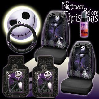 New 6 Pieces Disney Nightmare Before Christmas Jack Skellington Graveyard Car Auto Accessories Interior Combo Kit Gift Set   Front Floor Mats, Seat Cover, Steering Wheel Cover and Travel Size Purple Slice Automotive