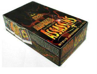 Illuminati New World Order 1995 INWO Assassins Expansion POP collectible card game (CCG), Factory Sealed Display box 60 Assassins Expansion booster Packs Each Sealed Pack contains 8 cards (480 Cards total) By Steve Jackson (Copyright Date 1995) Steve Jac