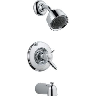 Delta Grail Chrome 1 Handle Bathtub and Shower Faucet Trim Kit with Multi Function Showerhead