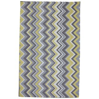 Mohawk Home Ella Zig Zag 5 ft x 8 ft Rectangular Yellow Transitional Outdoor Area Rug