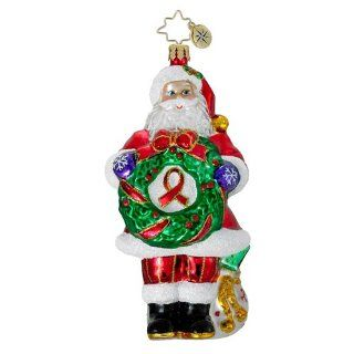 RADKO CLAUS FOR A CAUSE AIDS Awareness Santa Glass Ornament Christmas Red Ribbon   Christmas Ball Ornaments