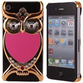 Hard Plastic Snap on Cover Fits Apple iPhone 4 4S Hot Pink Large 3D Owl Rhinestone Crystal AT&T, Verizon (does NOT fit Apple iPhone or iPhone 3G/3GS or iPhone 5/5S/5C) Cell Phones & Accessories