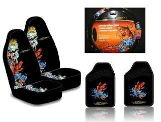 Ed Hardy Koi Fish Seat Covers, Floor Mats, Steering Wheel Cover 5 pc Set Automotive
