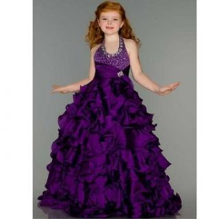 Sugar Purple Sparkle Halter Style Ruffle Skirt Pageant Gown Girls 8 Macduggal Clothing
