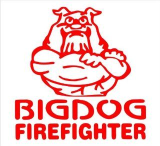 "Firefighter Decals Big Dog Fire Fighter Decal Sticker Laptop, Notebook, Window, Car, Bumper, EtcStickers 5""in. in RED Exterior Window Sticker with"