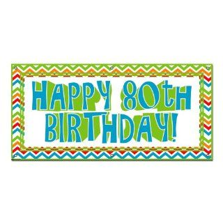 Happy 80th Eighty Birthday Masculine   Celebration Party 4'x2' Banner Health & Personal Care