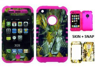 For Apple iPhone 3G S Hard Hot Pink Skin+Camo Leaves Snap Case Cover Hybrid New Cell Phones & Accessories