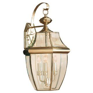 Sea Gull Lighting 8040 02 3 Light Lancaster Medium Outdoor Wall Lantern, Clear Beveled Glass and Polished Brass   Wall Porch Lights
