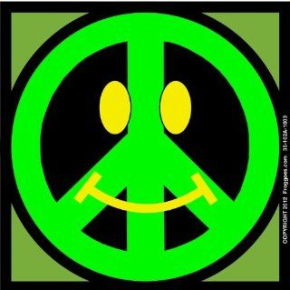 "SMILEY PEACE SIGN   GREEN/GREEN   STICK ON CAR DECAL SIZE 3 1/2"" x 3 1/2""   VINYL DECAL WINDOW STICKER   NOTEBOOK, LAPTOP, WALL, WINDOWS, ETC. COOL BUMPERSTICKER   Automotive Decals"