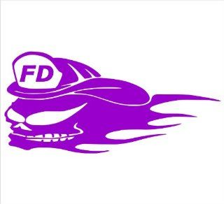"Firefighter Decals Fear Fire Skull With Flames Decal Sticker Laptop, Notebook, Window, Car, Bumper, EtcStickers 6""x3""in. in PURPLE Exterior Window Sticker with"