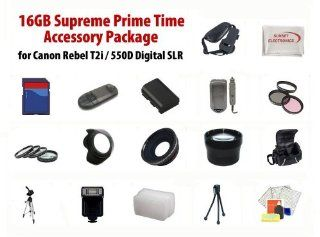 16GB Supreme Prime Time Acessory Package For Canon EOS Rebel T4i 650D T3i T2i 550D Digital Slr Kit Includes 16Gb High Speed Memory Card, 2 Extended Life Batteries, Rapid AC/DC Charger, Digital Flash, Professional Wide Angle Lens, 2X Telephoto Lens, Filter