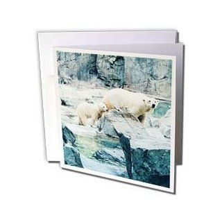 gc_24751_2 Renderly Yours Bears   Cute Polar Bear Cub Following Mom   Greeting Cards 12 Greeting Cards with envelopes