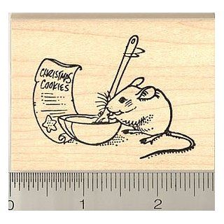 Not a Creature Was Stirring, Except for This Mouse Christmas Rubber Stamp   Wood Mounted