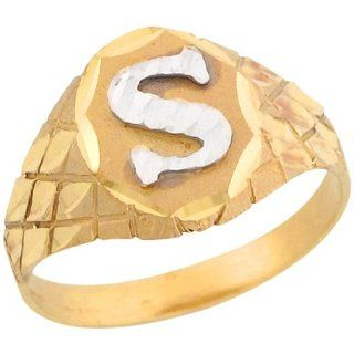 10k Two Tone Gold Diamond Cut Letter S Checkered Design 1.2cm Initial Ring Jewelry