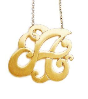 Monogram Initial Pendant Necklace Personalized Swirl Letter Charm Matte Gold Tone Perfect Gift (Letter A) Personalized Necklaces For Girls Jewelry