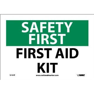 "NMC SF41P OSHA Sign, ""SAFETY FIRST FIRST AID KIT"", 10"" Width x 7"" Height, Pressure Sensitive Vinyl, Green/Black on White Industrial Warning Signs"