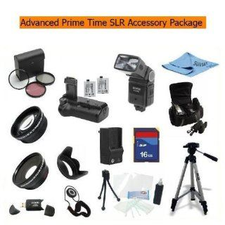 Advanced Prime Time Acessory Package for the Canon T1i (A.k.a 500d), Xs (A.k.a 1000d), Xsi (A.k.a 450d) Digital Slr Cameras Kit Includes 16gb High Speed Memory Card, Battery Pack Grip / Vertical Shutter Release, 2 Extended Life Batteries, Rapid Ac/dc Charg