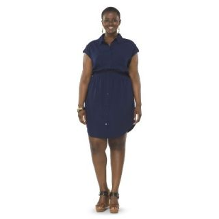 Pure Energy Womens Plus Size Utility Shirt Dress   Navy 3X