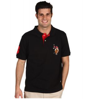 U.S. Polo Assn Multicolor Horse Big Pony Mens Short Sleeve Knit (Black)