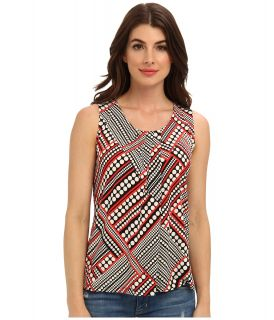 Anne Klein Dot Print Pleat Neck Top Womens Sleeveless (Black/Koi Multi)