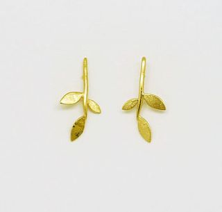gold plate lola leaf stud earrings by blossoming branch