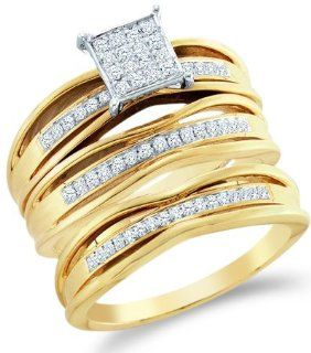 10k Yellow and White 2 Two Tone Gold Mens and Ladies Couple His & Hers Trio 3 Three Ring Bridal Matching Engagement Wedding Ring Band Set   Round Diamonds   Micro Pave Princess Shape Center Setting (.30 cttw) Jewelry