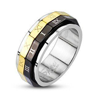 316L Stainless Steel Black & Gold IP Roman Numeral Dual Spinner Ring Band His and Hers Jewelry