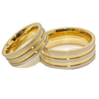 Matching 6mm & 8mm Titanium and Triple Gold Plated His & Hers Ring Set Wedding Bands (US Sizes    6mm4 16; 8mm4 17, Half Sizes Available) Jewelry