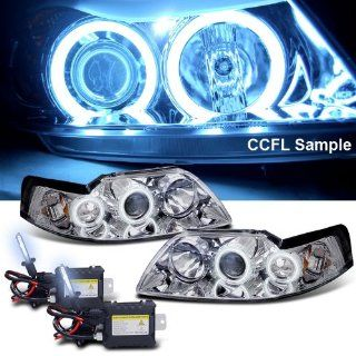 Eautolight 8000k Slim Xenon HID Kit + 99 04 Ford Mustang Ccfl Halo LED Projector Head Lights Automotive