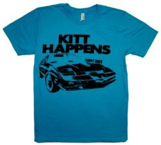 Knight Rider KITT HAPPENS Bright Blue T Shirt Tee Clothing