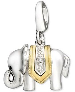 14k Gold and Sterling Silver Charm, Diamond Accent Elephant Charm   Jewelry & Watches