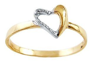 Right Hand Heart Ring 14k White Yellow Gold Fashion Band Jewel Tie Jewelry