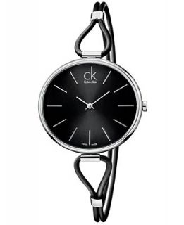 Calvin Klein Watch, Womens Swiss Selection Black Leather Cord Strap 38mm K3V231C1   Watches   Jewelry & Watches
