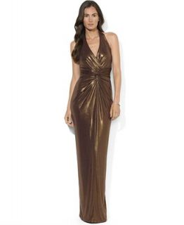 Lauren Ralph Lauren Dress, Sleeveless Metallic Halter Gown   Dresses   Women