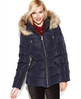 MICHAEL Michael Kors Petite Coat, Hooded Faux Fur Trim Quilted Puffer   Coats   Women