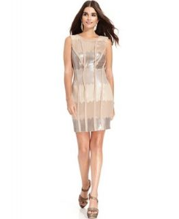 Jessica Simpson Sleeveless Sequin Panel Sheath   Dresses   Women